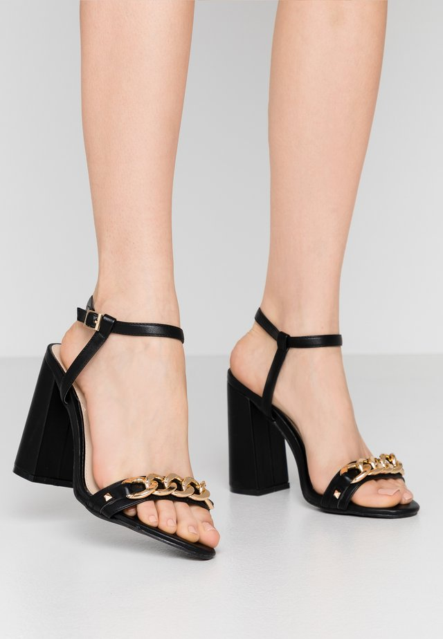 WIDE FIT SHAM CHAIN BLOCK HEEL - High heeled sandals - black