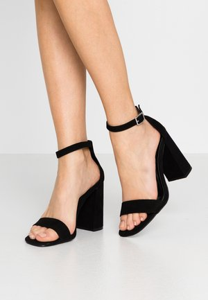 WIDE FIT STEFFI SQAURE TOE BLOCK - High heeled sandals - black