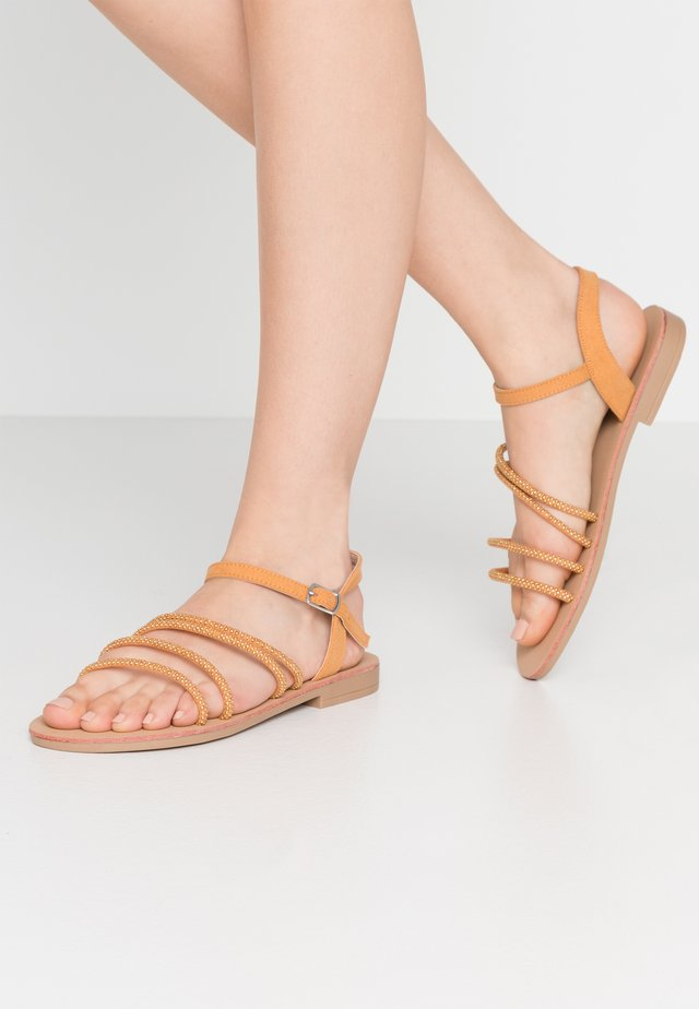 WIDE FIT EVIE EMBELLISHED ASSYMETRIC - Sandals - tan