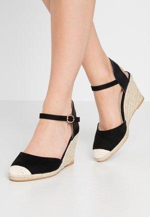 WIDE FIT WORK WEDGE - Sandály na vysokém podpatku - black