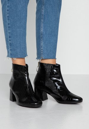 WIDE FIT BRIXTON ZIP BACK SQUARE TOE - Ankle Boot - black