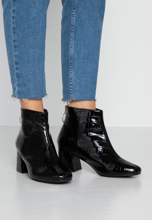 WIDE FIT BRIXTON ZIP BACK SQUARE TOE - Ankle boots - black