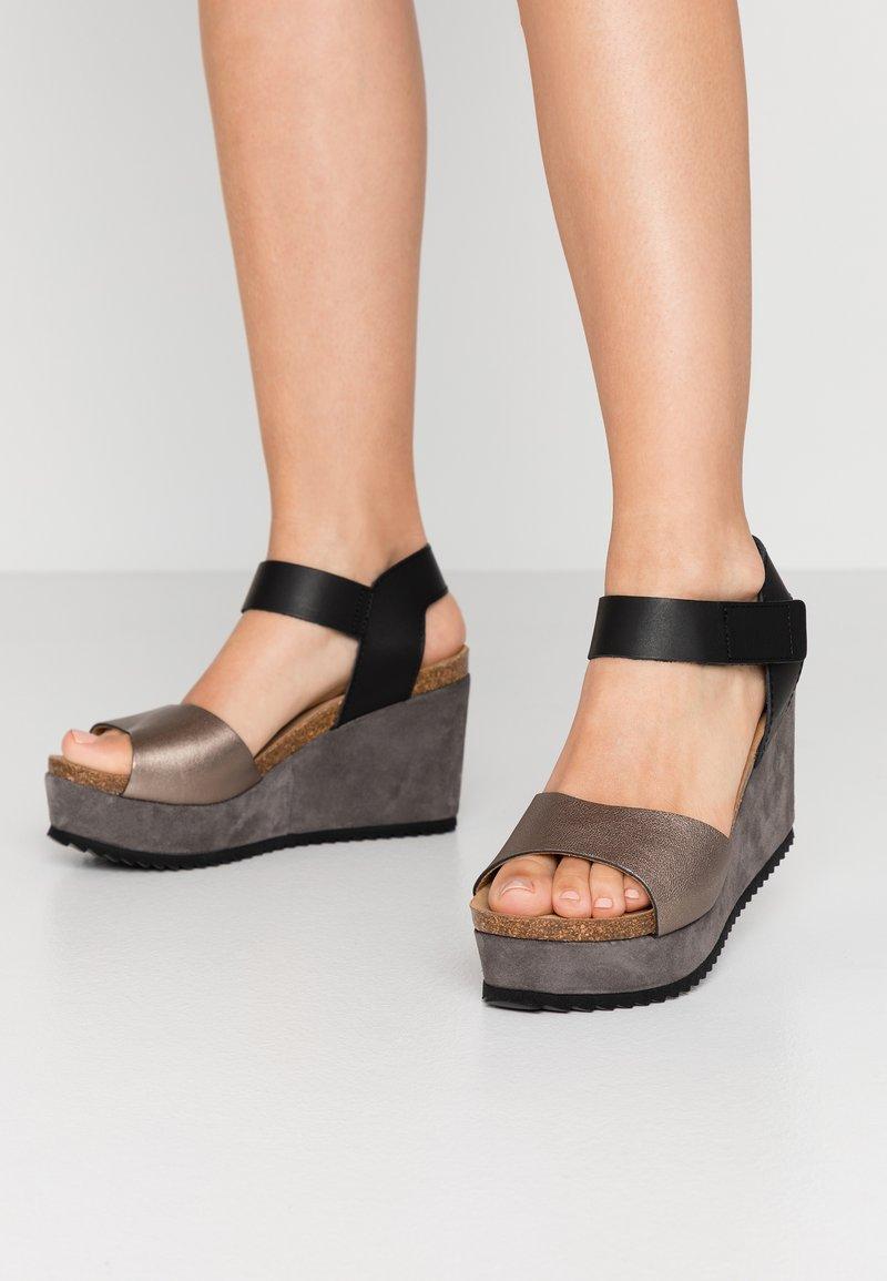 MAHONY - PATTY - Sandály na vysokém podpatku - antracite grey/black