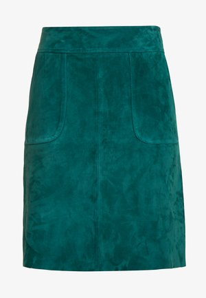 LEATHER SKIRT - Spódnica skórzana - emerald green