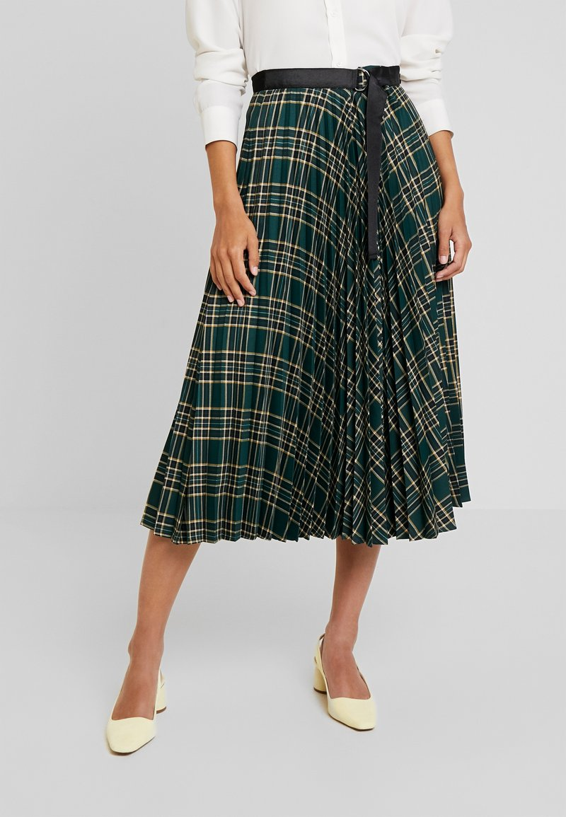 More & More - SKIRT MIDI - A-line skirt - emerald green/multi