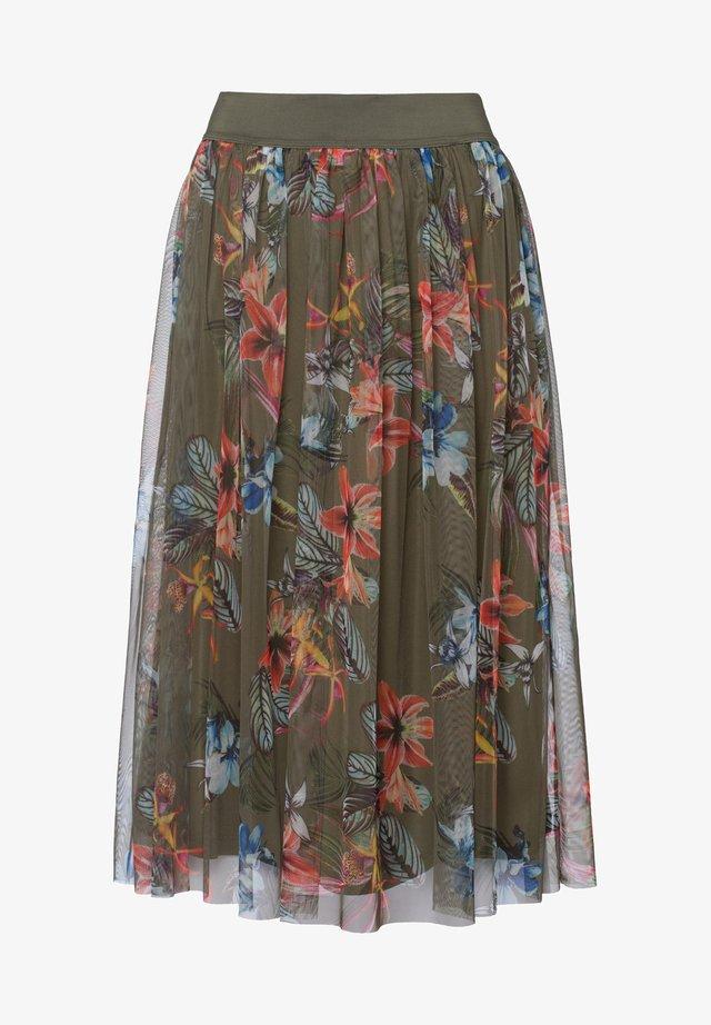 TROPICAL SUMMER - A-line skirt - khaki