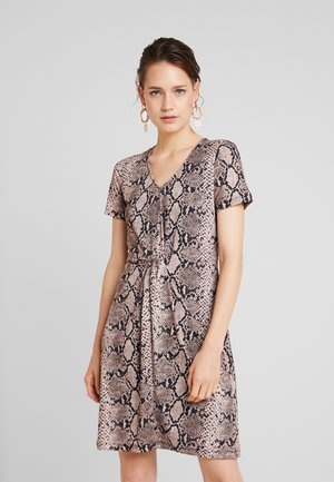 DRESS INTERLOCK - Jerseyklänning - crema multi