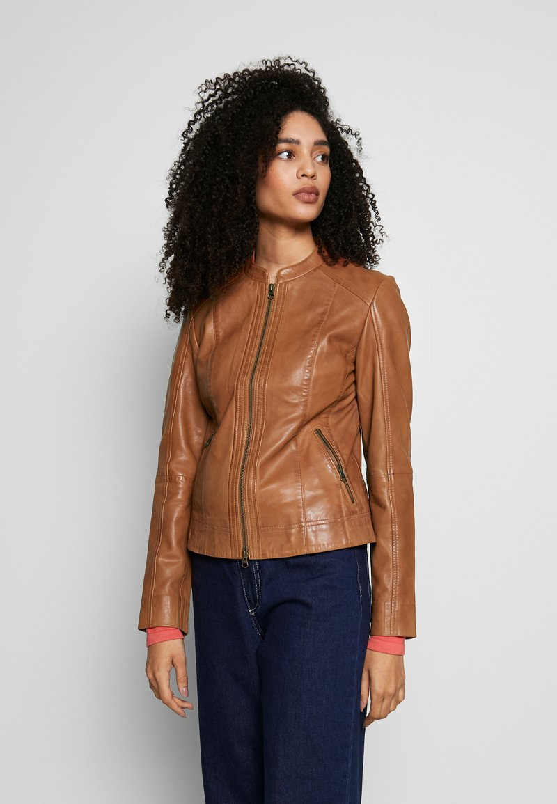 More & More - Leather jacket - nougat