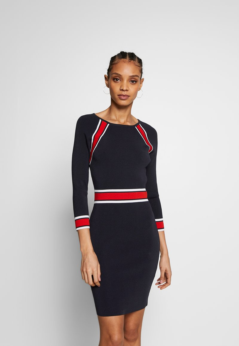 Morgan - Shift dress - marine/papaye