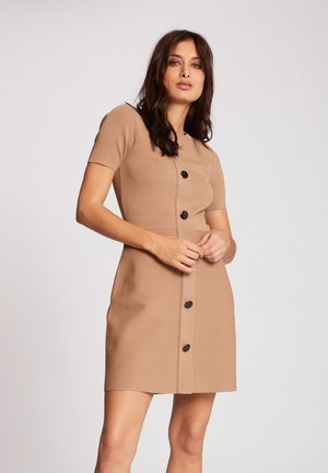WITH BUTTONS - Vestido de punto - brown