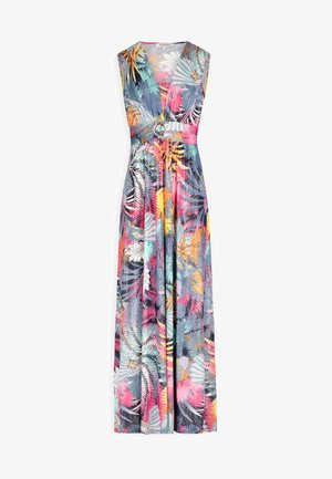 FLARED LONG WITH VEGETAL PRINT - Vestido largo - dark blue