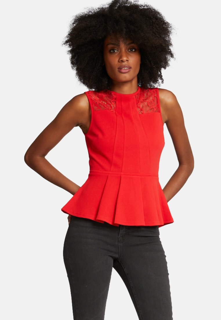 Morgan - WITH PEPLUM AND LACE - Débardeur - red