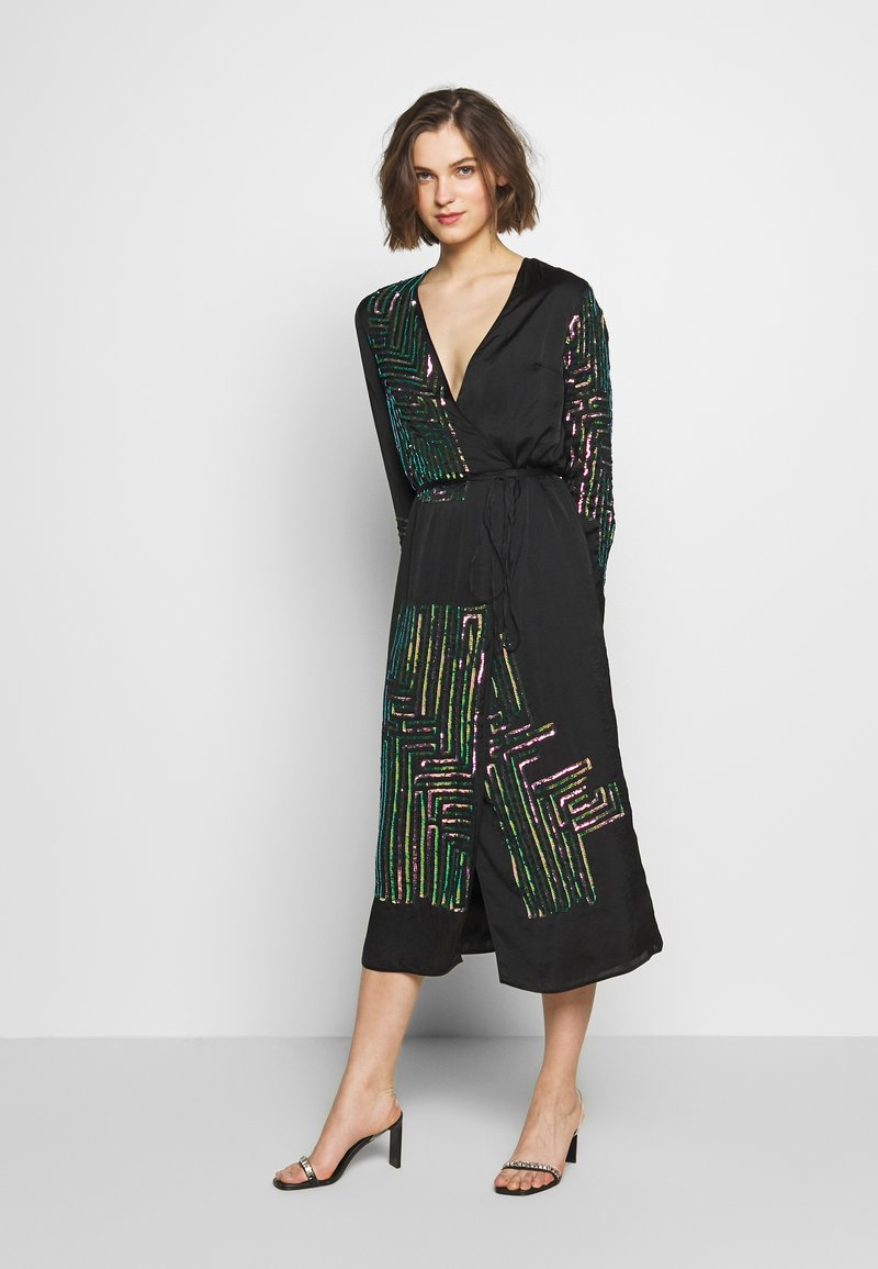 MANÉ - MAZE WRAP DRESS - Cocktail dress / Party dress - washed black/rose