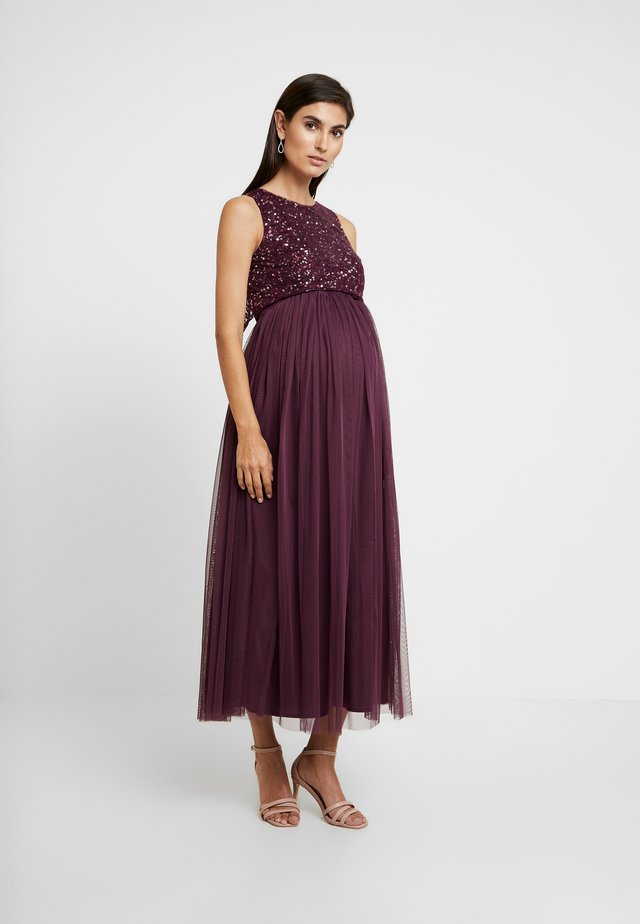 DOUBLE LAYER DELICATE SEQUIN MIDAXI DRESS - Iltapuku - burgundy