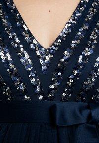 Maya Deluxe Maternity - STRIPE EMBELLISHED V NECK MAXI DRESS WITH TIE BELT - Suknia balowa - navy - 8
