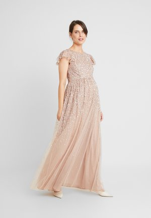 ALL OVER EMBELLISHED DRESS WITH RUFFLE SLEEVE - Occasion wear - nude