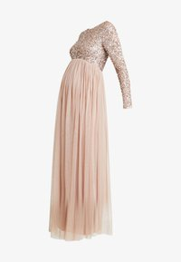 Maya Deluxe Maternity - LONG SLEEVE DELICATE SEQUIN MAXI DRESS WITH SKIRT - Ballkjole - taupe blush - 5