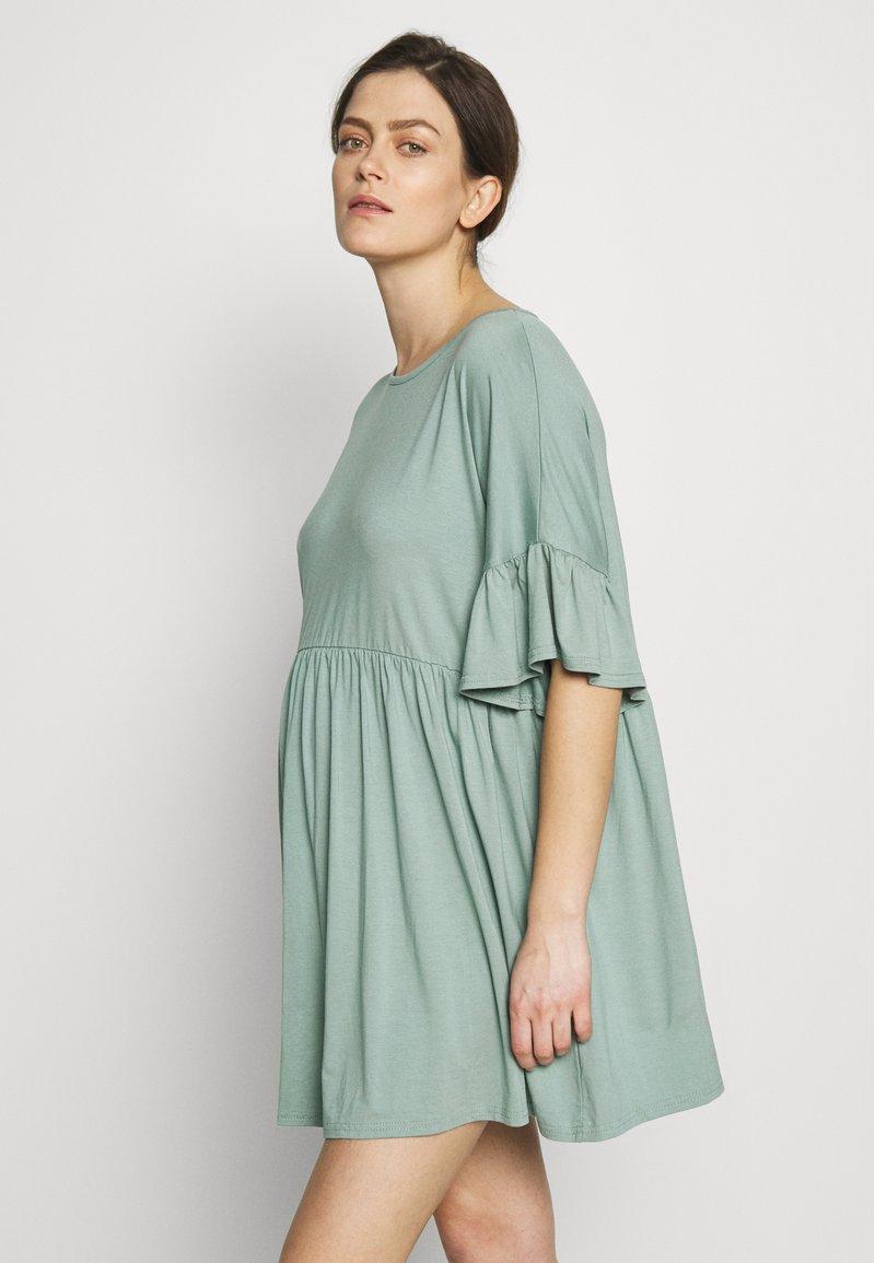 Missguided Maternity - MATERNITY FRILL SLEEVE SMOCK DRESS - Jerseyklänning - sage
