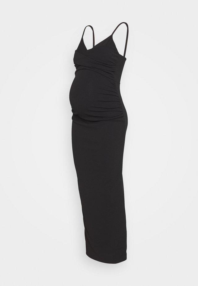 GATHERED WRAP FRONT COWL CAMI DRESS - Długa sukienka - black