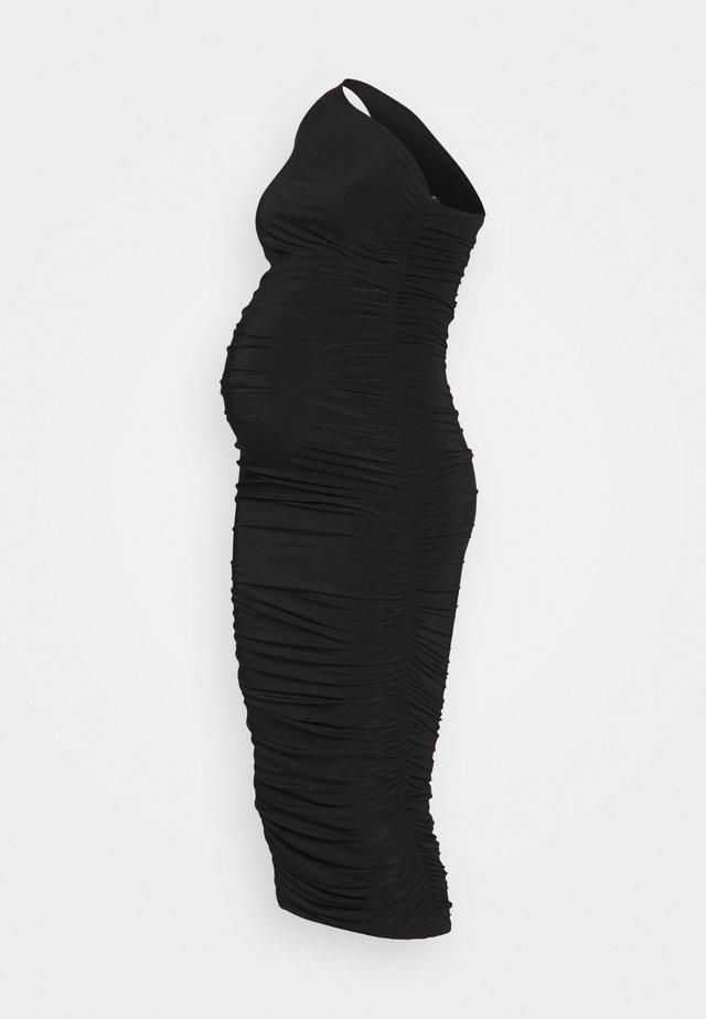 SLINKY ONE SHOULDER RUCHED MIDI DRESS - Sukienka z dżerseju - black