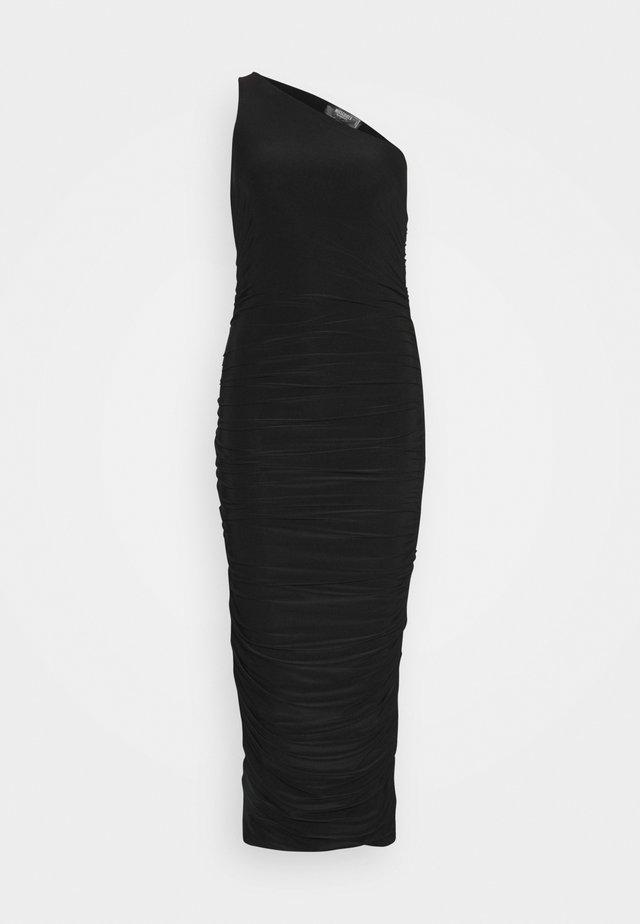 SLINKY ONE SHOULDER RUCHED MIDI DRESS - Jersey dress - black