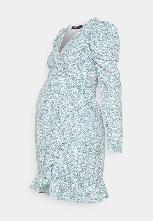 MATERNITY WRAP PLEATED SKIRT DRESS - Jerseyjurk - blue