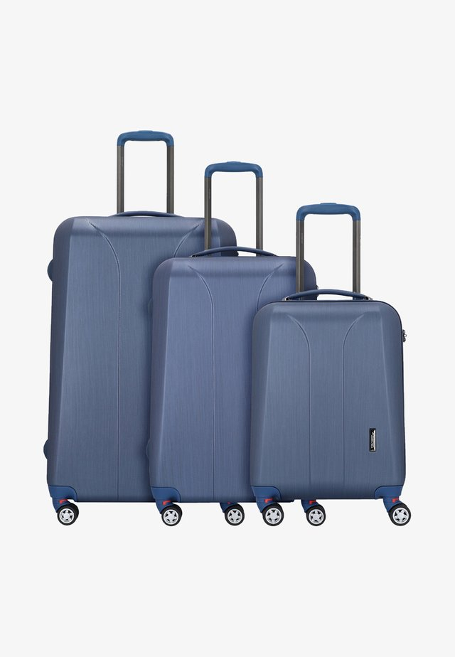 3 SET - Luggage set - navy brushed/dark lake brushed