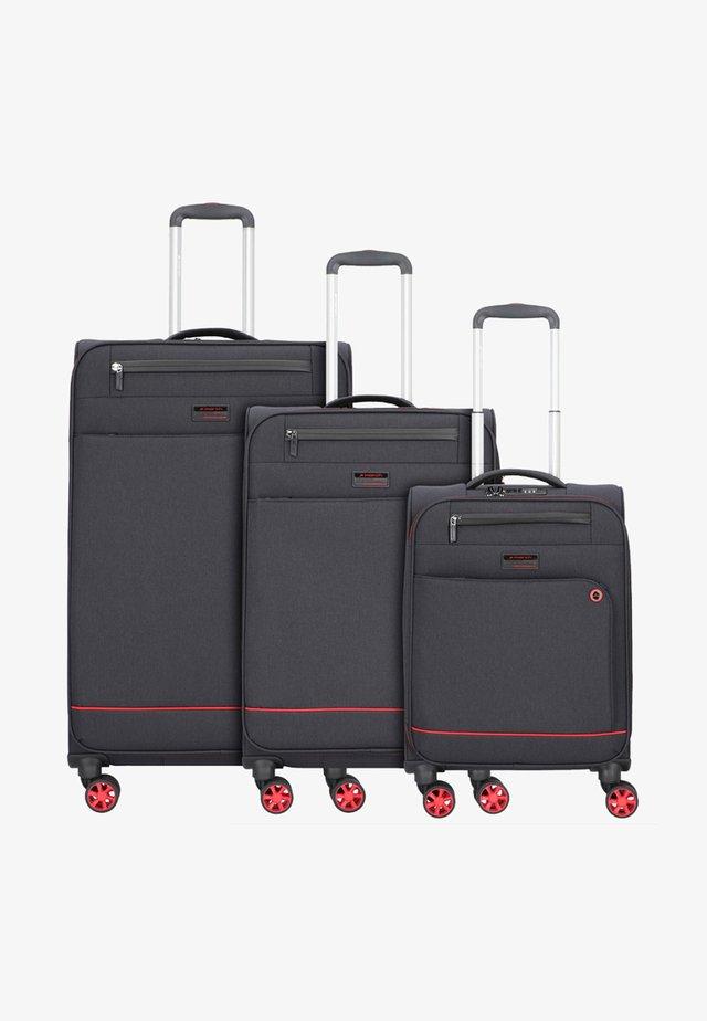3 SET - Luggage set - black / red