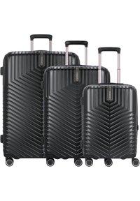 march luggage - LOTUS 4-ROLLEN 3TLG. - Set de valises - black metal - 0