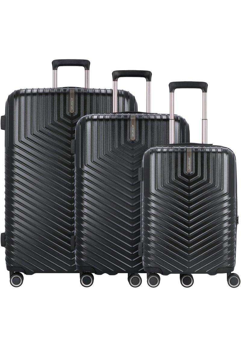 march luggage - LOTUS 4-ROLLEN 3TLG. - Set de valises - black metal