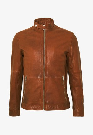 ADRON - Leather jacket - cognac