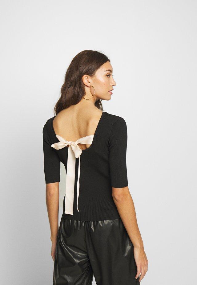 LADIES KNITTED  - T-shirt z nadrukiem - black