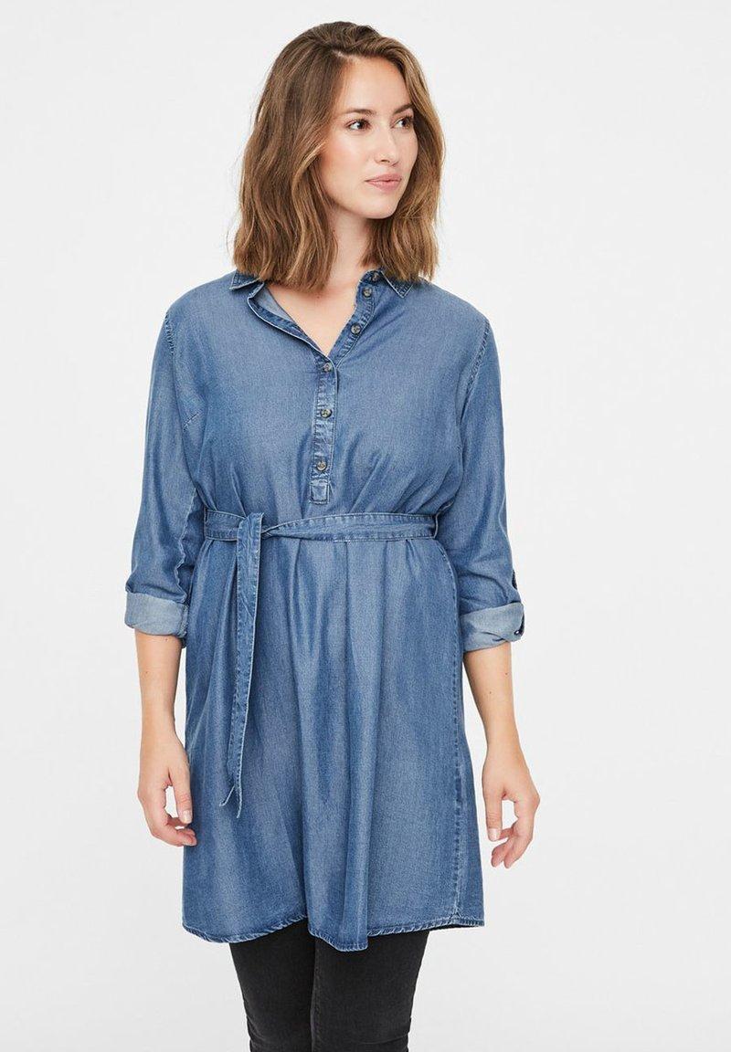 MAMALICIOUS - Vestito di jeans - dark blue denim