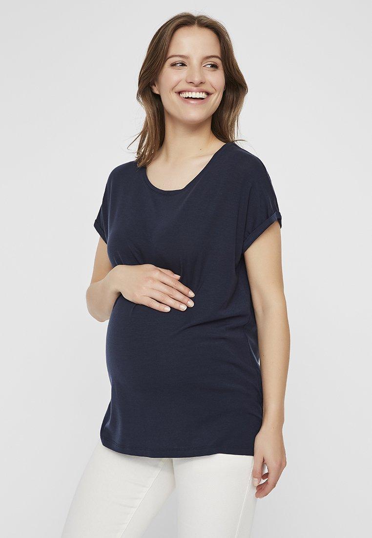 MAMALICIOUS - KURZARM   - T-shirt med print - navy