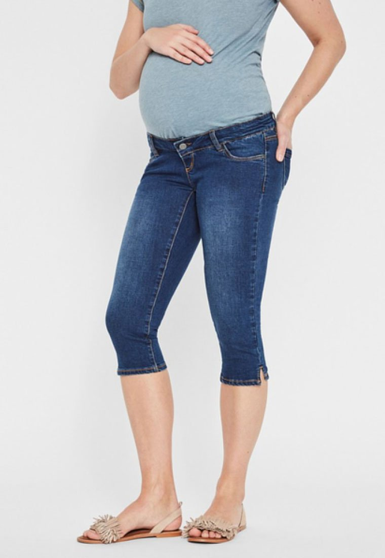 MAMALICIOUS - SLIM FIT - Jeans Shorts - light blue denim