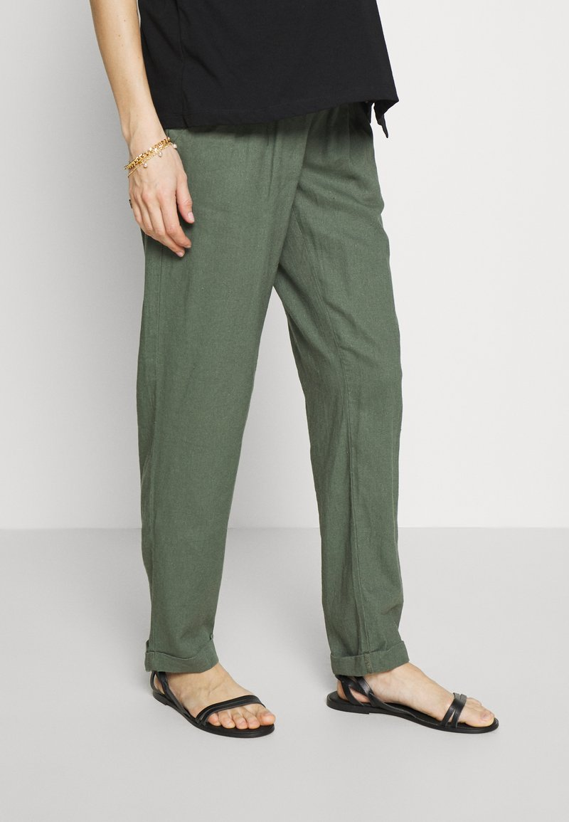 MAMALICIOUS - MLBEACH BELT PANT - Kalhoty - thyme
