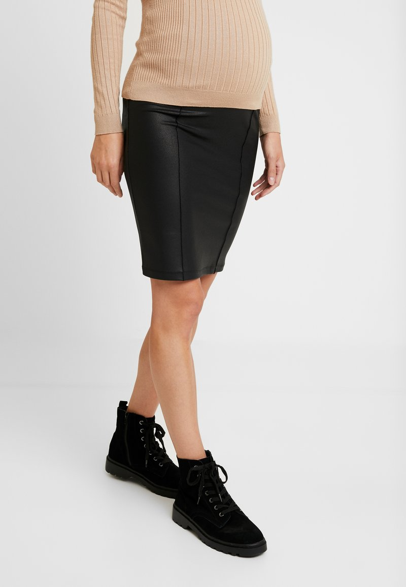 MAMALICIOUS - MLLUNA COATED PINTUC SKIRT - Pencil skirt - black