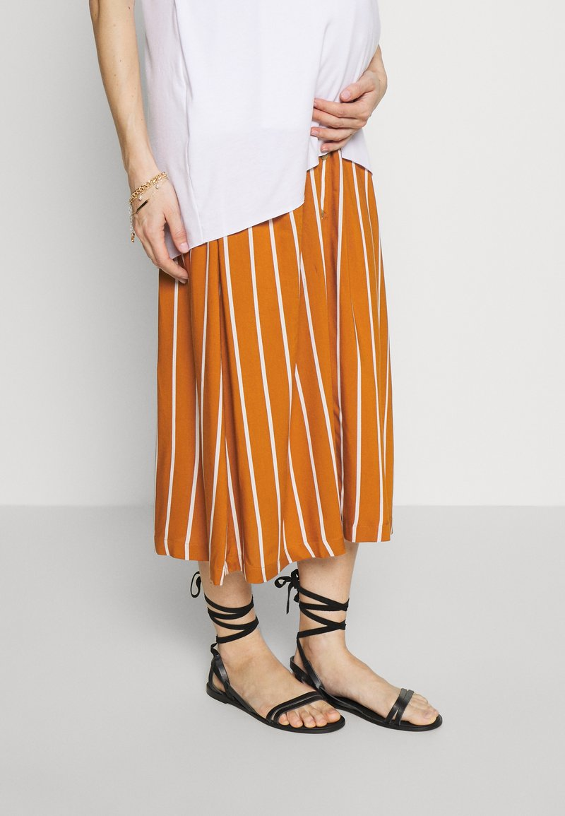 MAMALICIOUS - MLSINEM MIDI SKIRT - Pencil skirt - leather brown