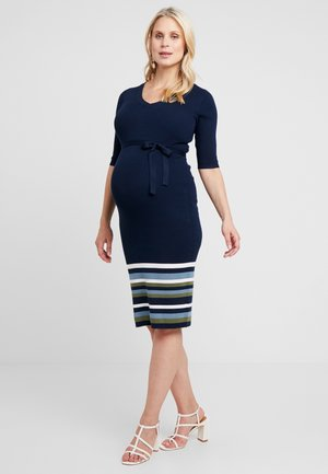 MLLIV DRESS - Gebreide jurk - navy blazer/bluestone/snow white