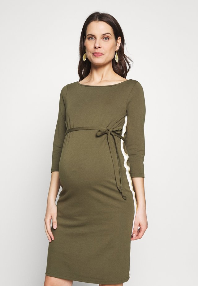 MLTINE BLACKIE DRESS - Jerseyjurk - dusty olive/snow white