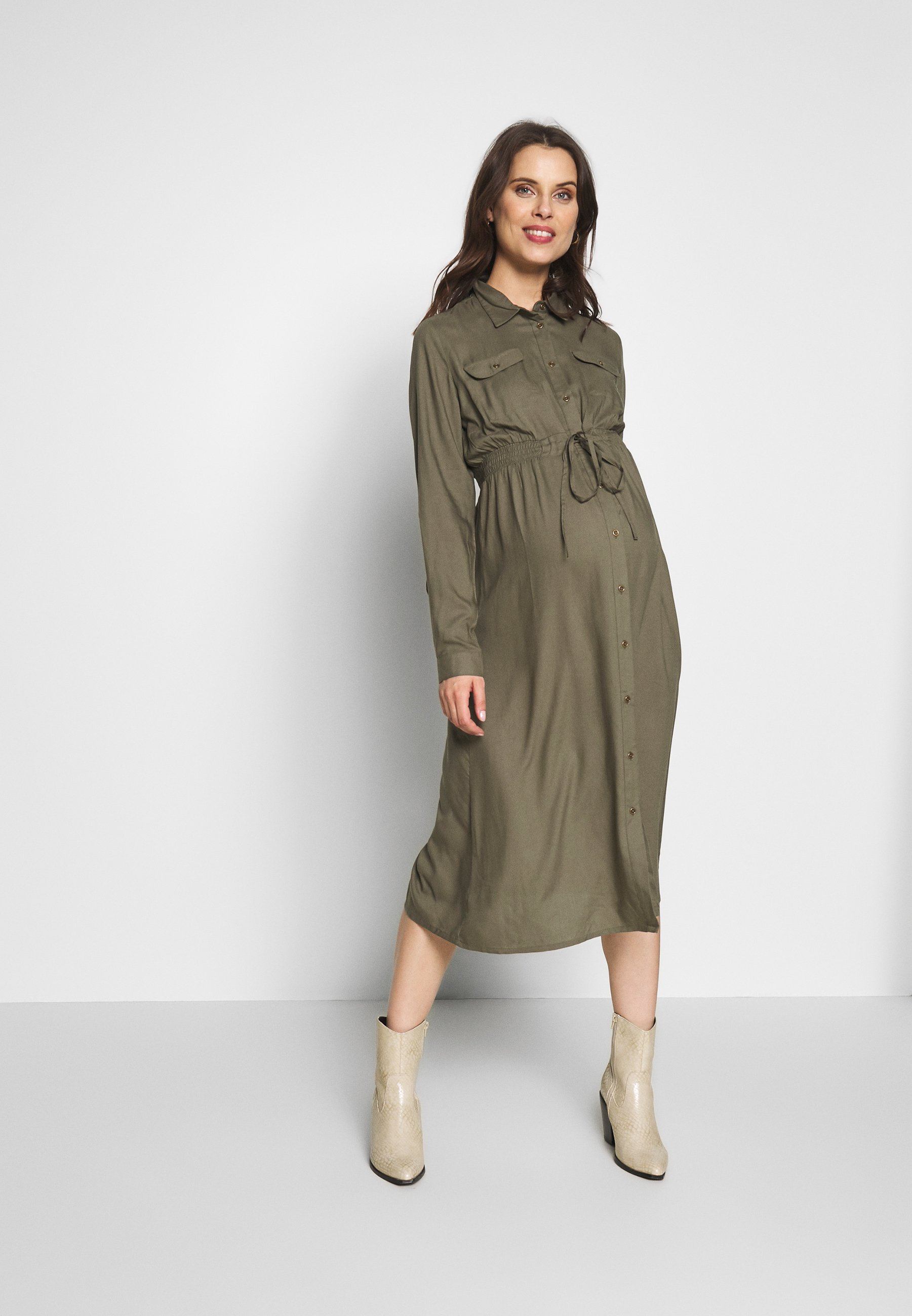 MAMALICIOUS MLMALIN MIDI DRESS - Sukienka koszulowa - dusty olive