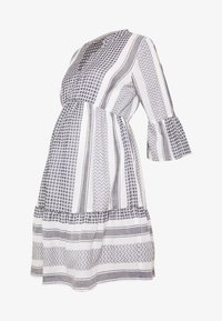 MAMALICIOUS - MLEVIA 3/4 SHORT DRESS - Sukienka letnia - snow white/navy blazer - 4