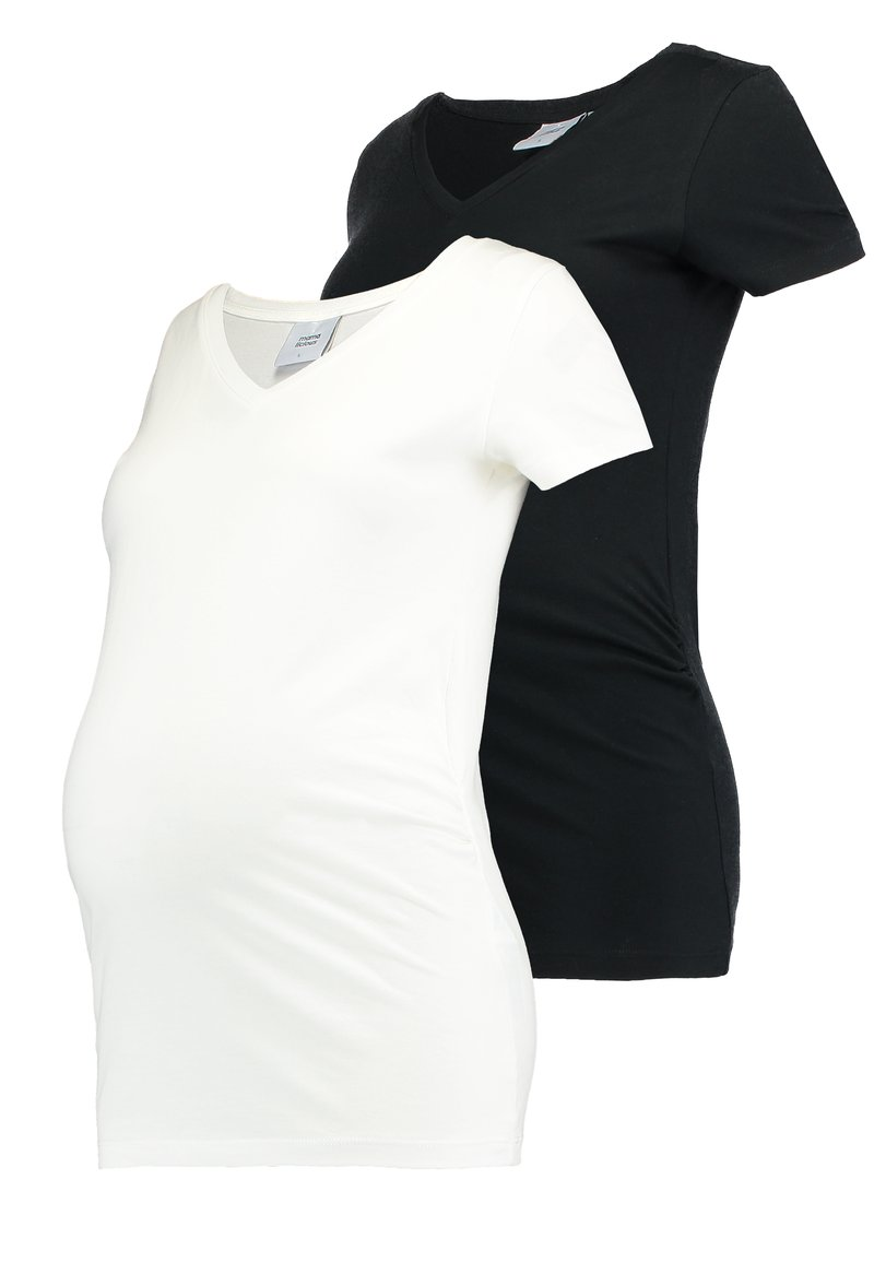 MAMALICIOUS - MLANNIA 2 PACK  - T-shirt basic - black/snow white