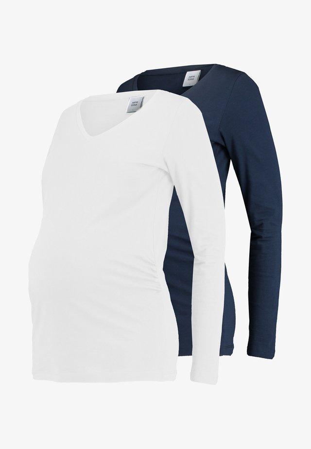 MLANNIA 2 PACK  - Top sdlouhým rukávem - navy blazer/snow white