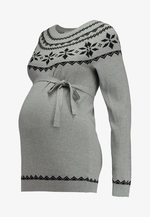 MAMALICIOUS MLNEW INTARSIA - Sweter - light grey melange/black Odzież Damska XQUE-KQ6 najlepszy