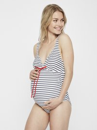 MAMALICIOUS - MLJOSEFINE STRIPY SWIMSUIT - Badedragter - snow white/black iris - 0