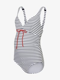 MAMALICIOUS - MLJOSEFINE STRIPY SWIMSUIT - Badedragter - snow white/black iris - 5