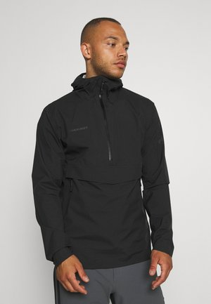 ALBULA HALF ZIP HOODED JACKET MEN - Regnjakke / vandafvisende jakker - black
