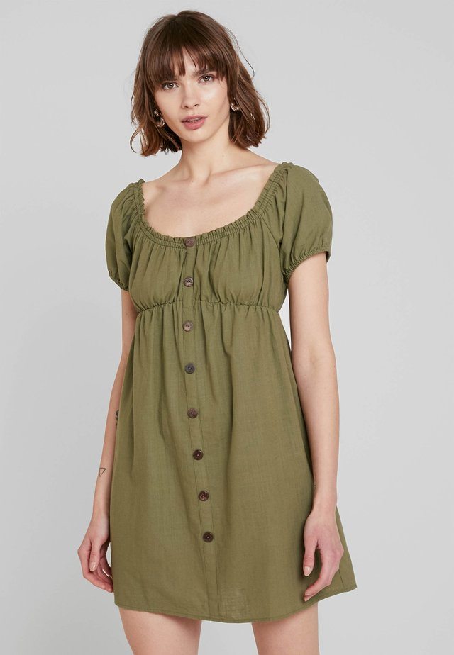 PUFF MINI DRESS - Shirt dress - khaki