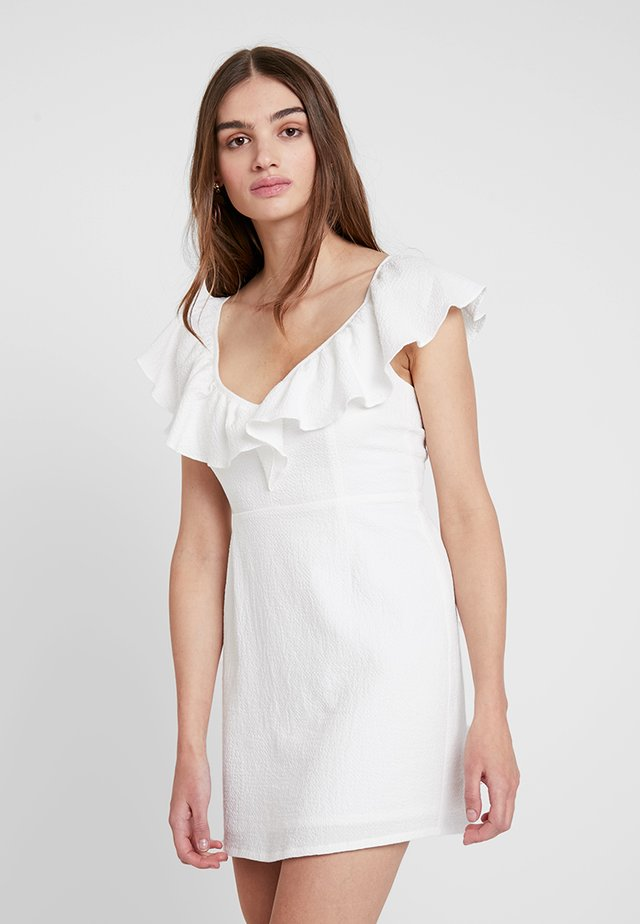FRILLS MINI DRESS - Korte jurk - white